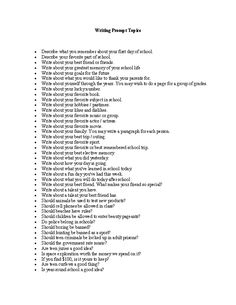 Writing Prompt Topics Writing Prompt Worksheet