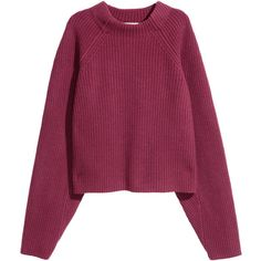 Knitted wool jumper 269 AED ❤ liked on Polyvore featuring tops, sweaters, wool knit sweater, raglan sleeve top, purple jumper, purple top and jumper top