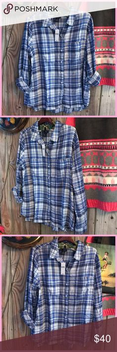 """🎄Super Soft & Fun Flannel with a touch of pink🎄 🎁 Great gift idea for yourself for a friend. Super soft Gap Boyfriend Coupe Flannel. ❤️ A favorite for me ⭐️⭐️ I love these flannels I have several and live in them. This top has several gorgeous blue tones with a touch of pink. Length 26""""-28"""",  bust across 24"""", sleeve 25"""", 🎄 New with Tags. ⭐️⭐️ Retail $50 + Tax  ❤️Top seller, Posh ambassador, super fast shipping. GAP Tops Button Down Shirts"""