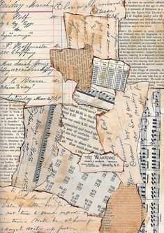 Made for Mary Green's Green Paper Collage Class. Torn pieces of vintage paper with inked edges combined to make a cohesive blended background. Papel Vintage, Vintage Paper, Vintage Ephemera, Background Vintage, Textured Background, Vintage Backgrounds, Scrapbook Background, Newspaper Background, Paper Background Design