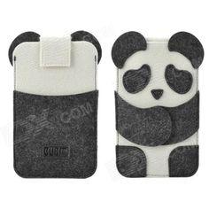 Lindo BUBM Panda Estilo protectora Fieltro Tela Funda para iPhone 4/5 / 5s / 5c - Blanco + Negro
