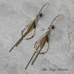 Bijou créateur - boucles d'oreilles dormeuses créoles gouttes bronze breloques plumes perles miyuki rose corail
