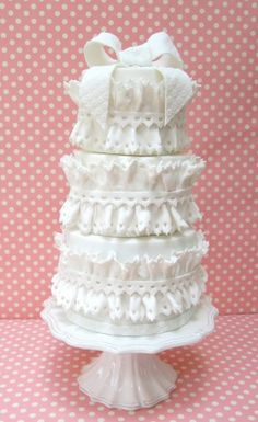 Beautiful #ruffled #wedding #cakes from Peggy's Cupcakes
