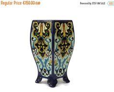 10% Off Jules Vieillard Bordeaux Ceramic Vase. by LeBonheurDuJour #vogueteam #JulesVieillard  #bordeauxvase #antiiquevase #frenchdecor #sale #etsygift