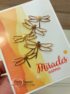 """Faux Torn Edge featuring glossy paper and Stampin' Up! ink pads with Copper Foil die cut dragonfly and So Many Shells stamp set.  Card ideas and """"how to"""" tutorial by Patty Bennett"""