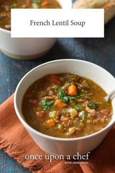 French Lentil and Vegetable Soup with Bacon - Once Upon a Chef - Do you need a hearty winter soup to take away the winter blues? This French Lentil Soup is just the - Lentil And Bacon Soup, French Lentil Soup, Green Lentil Soup, Lentil Vegetable Soup, French Green Lentils, Lentil Soup Recipes, Lentil Stew, Homemade Lentil Soup, Lentil Salad
