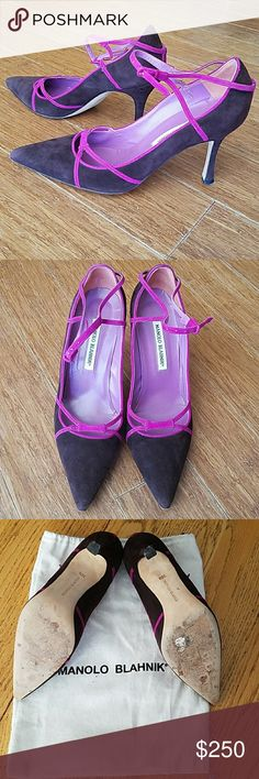 Manolo Blahnik Brown and Fucshia Heels Brown sude pump with Fucshia accents along trim and ankle. Genuine Manolo Blahnik shoe with dust bag. Worn once... no scuffs on shoe itself just the bottoms Manolo Blahnik Shoes Heels