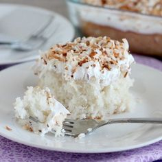 This coconut cream poke cake is simple to make, starting with a boxed cake mix and a few ingredients for a perfectly refreshing and delicious dessert!