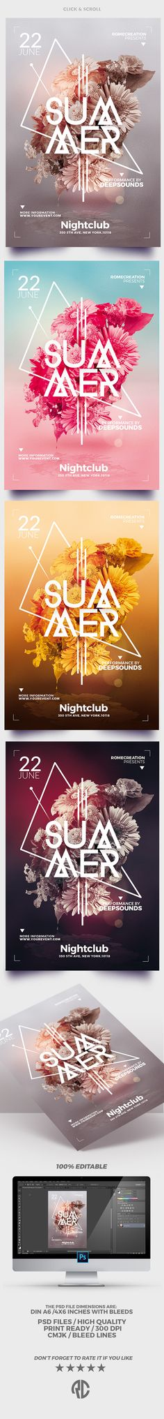 Minimalist Summer - Flyer Templates (4 versions) - Creative Design very easy to edit and perfect to promote your Summer Party !