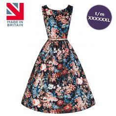 Swing Sienna jurk met bloemen print zwart/multicolours - Vintage, 50's, Rockabilly