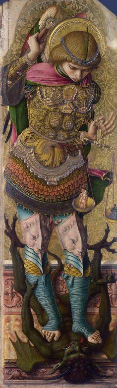 Saint Michael / San Miguel Arcángel //circa 1476 // Carlo Crivelli // © The National Gallery,London Saint Michael, St. Michael, Angels Among Us, Angels And Demons, Italian Renaissance, Renaissance Art, Madonna, National Gallery, Archangel Michael