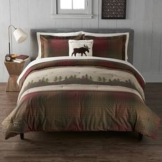 Cuddl Duds Scenic Lodge Heavyweight Flannel Comforter Set | Kohls Green Duvet Covers, Bed Duvet Covers, Duvet Cover Sets, Flannel Duvet Cover, Flannel Quilts, Plaid Design, Quilt Sets, Comforter Sets, Comforters