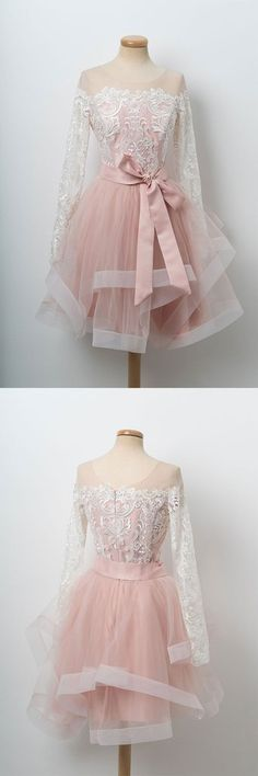 Pink round neck tulle lace short prom dress, pink homecoming dress, pink formal dress by DestinyDres Pink Formal Dresses, Dresses Short, Formal Dresses For Women, Trendy Dresses, Cheap Dresses, Nice Dresses, Casual Dresses, Fashion Dresses, Dress Outfits