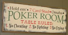 Poker Room Sign/Man Cave/Christmas Gift by TheGingerbreadShoppe