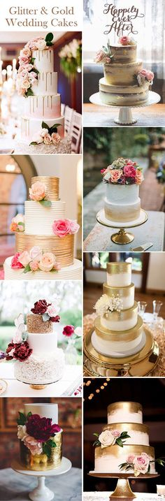 glittery and gold wedding cakes ideas