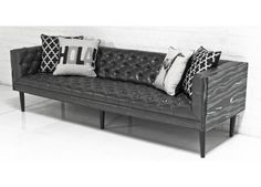 Neutra Sofa in Black Macassar and Charcoal Faux Leather