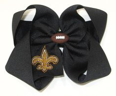 New Orleans Saints Inspired Hair Bow with Gold by polkadotdesigns