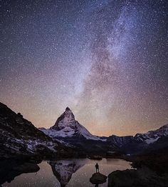 """The Matterhorn could arguably be the most iconic mountain in the world. One thing is certain the more time you spend in its presence... the smaller you feel"" .  Photo/caption: @chrisburkard  #wildernessculture by wilderness_culture"