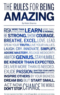 The Rules for being amazing + your ultimate guide for 2014 goal setting