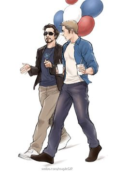 Tony and Steve's day off. I bet they're on the way to visit some sick kid in the hospital, so they're bringing him a slushy drink and balloons to cheer him up.