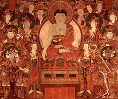 Buddha Shakyamuni Preaching at Vulture Peak	  Korea; Choson period (1392-1910), 18th century  This Korean painting depicts Shakyamuni Buddha preaching the Lotus Sutra on Vulture Peak, a site in eastern India. The Lotus Sutra, one of the most important texts of East Asian Buddhism, addresses universal salvation and the means by which sentient beings can reach enlightenment. Worship and study of this text are believed to bring good health, longevity, and prosperity in everyday life.