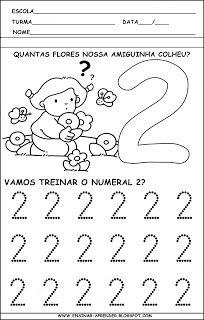 """ATIVIDADES PARA TREINO DA ESCRITA DOS NUMERAIS DE 1 A 5 ~ """" Cantinho do Educador…"""
