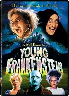 *YOUNG FRANKENSTEIN,  (1974) Poster: Dr. Frankenstein's grandson, after years of living down the family reputation, inherits granddad's castle + repeats the experiments.  Starring: Gene Wilder, Peter Boyle & Marty Feldman.