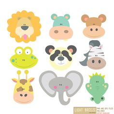 Animal Face - Clipart & Vector Set - Instant Download - Personal and Commercial Use