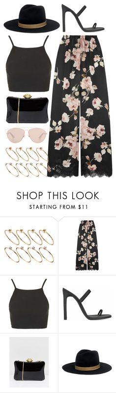 """set."" by vintagecoutures ❤ liked on Polyvore featuring ASOS, Rosamosario, Topshop, Lulu Guinness, Janessa Leone and Christian Dior"