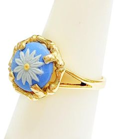 Estate Collection Yellow Gold and Wedgewood Ring - Tradesy