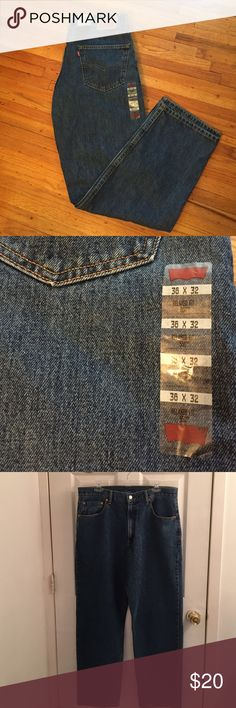 NWT Men's Levi Jeans NWT Men's 550 Levi Strauss & Co. Jeans. Size: waist 36 length 32. Color is denim blue. Belt loops. 2 back pockets. 3 front pockets. Relaxed fit sits at waist tapered leg. 100% cotton. Machine wash. Tumble dry. NO TRADES. Levi's Jeans Relaxed