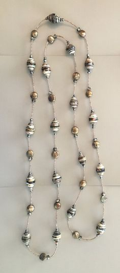 Handmade paper bead necklace in taupe grey brown and green