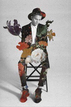 Jenya Vyguzov MORE HERE http://graphicmixedmedia.altervista.org/visual-games-and-fashion-charm-jenya-vyguzov/   collage flowers