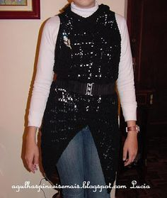 Needles and Brushes: Blouses and Boleros Square vest, this is a knitting pattern but could be easily done in crochet motifs