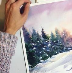 "698 Likes, 8 Comments - • Кудряшова Анна• (@anna_pole) on Instagram: ""То приятное чувство когда ты снова с кистью в руках😇 И конечно же я нарисовала зимний #лес ..…"""