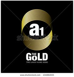 Vector graphic elegant gold logo and font . Symbol of money and business. Letter A and 1