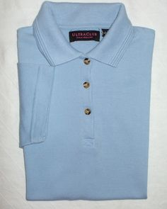 UltraClub Collared Golf Polo Shirt Light Blue Cotton Blend Pique Short Sleeve M | eBay  Wear short sleeves! Support your right to bare arms!