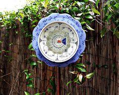 BLUE+Garden+Art+Glass+Garden+Plate+Flower+Yard+by+HucksterHaven,+$34.75