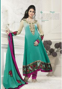 Cyan Blue Georgette Bollywood Salwar Kameez 15195