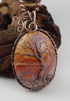 2014 Rhyolite Tree of Life Wire Wrapped Pendant Naturally Twisted Jewelry Mary Olczyk