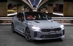 Download wallpapers Kia Stinger GT, night, 2018 cars, headlights, korean cars, Kia