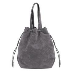 Grey Suede-look Drawstring Bucket Bag - US$21.95 -YOINS
