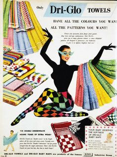 Dri-glo towels with harlequin model,1957 from vivatvintage
