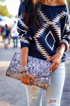 Blue and white single shoulder sweater