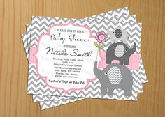 Printable Girl Baby Shower Invitation Girl Baby Shower Invites - Free Thank You Card, $10.00