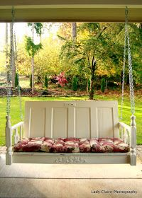 Huckleberry Lane: One of a Kind Porch Swing made out of an old Door! Perfect for a Farmhouse Porch!