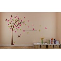 Colorful Cherry Blossom Tree With Butterfly Wall Decals