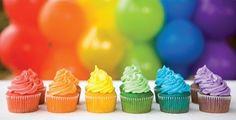 gorgeous rainbow themed birthday party by OHbaby! magazine - love the colourful rainbow cupcakes