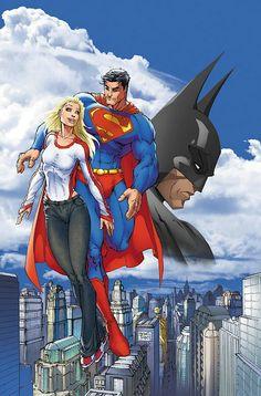 Supergirl, Superman, & Batman by Michael Turner