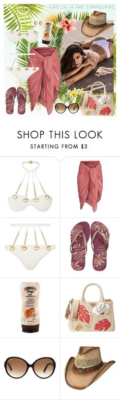 """Chillin in the summertime"" by julyralewis ❤ liked on Polyvore featuring Agent Provocateur, Havaianas, Hawaiian Tropic, Prada, Tod's and Ginette NY"